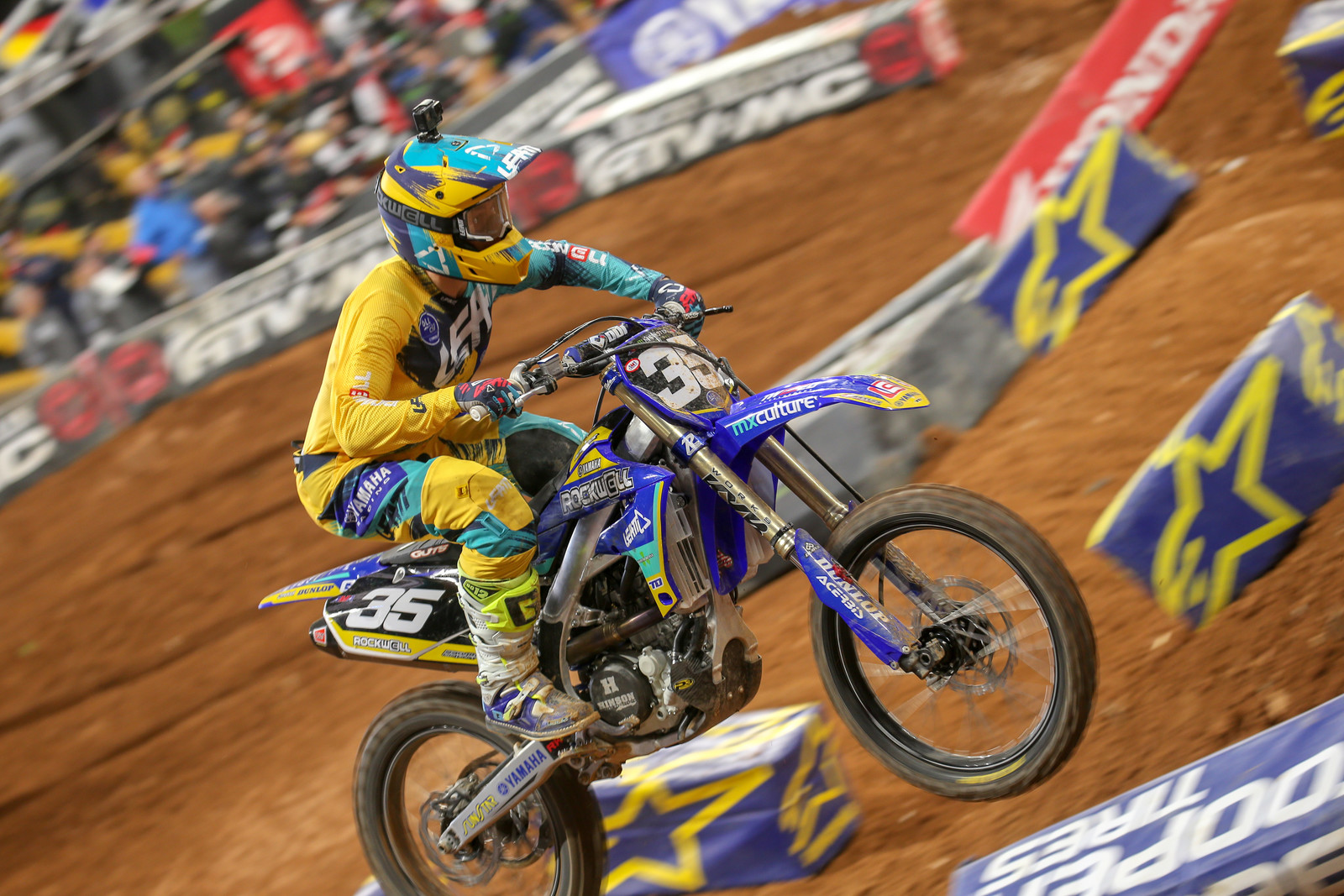 Mitchell Harrison was using one of the new 3.5 helmets last weekend in Atlanta. The Rockwell strap on the Leatt goggles? Your guess is as good as ours.