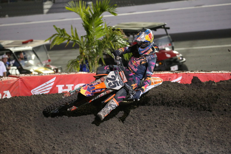 Marvin Musquin was riding the most aggressive he has all season, but he could only manage a third place finish.