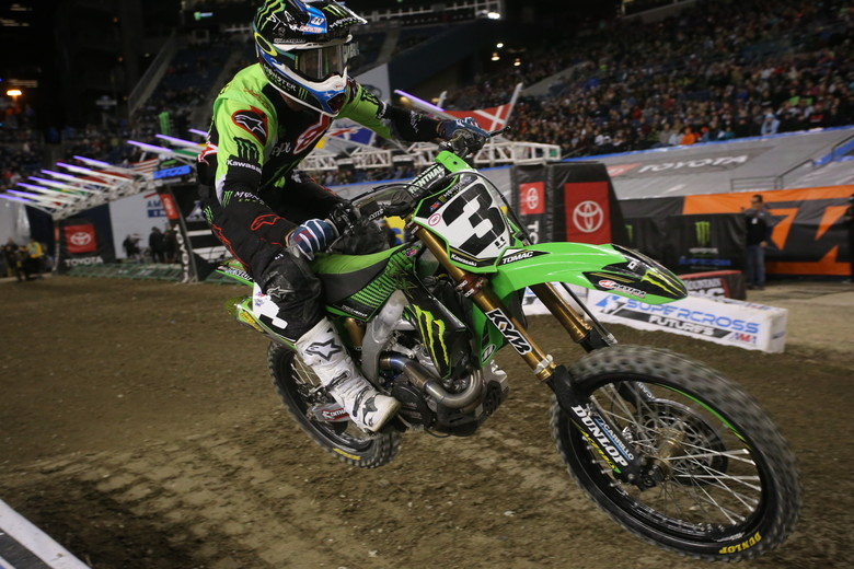 Eli Tomac was aggressive in the first few laps, but he eventually lost touch with Roczen and Musquin.