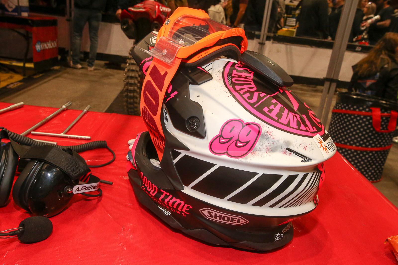 We like the Good Time Conniseur label on Austin Politelli's helmet.
