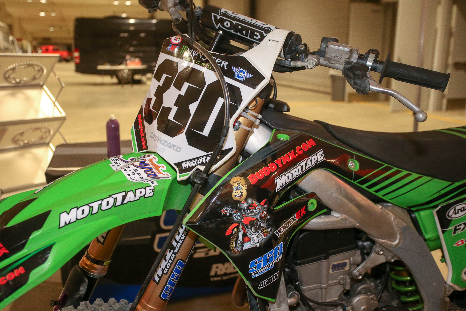 AJ Catanzaro has a different sponsor on his bike every weekend. This time around it's BuddyMX.com.