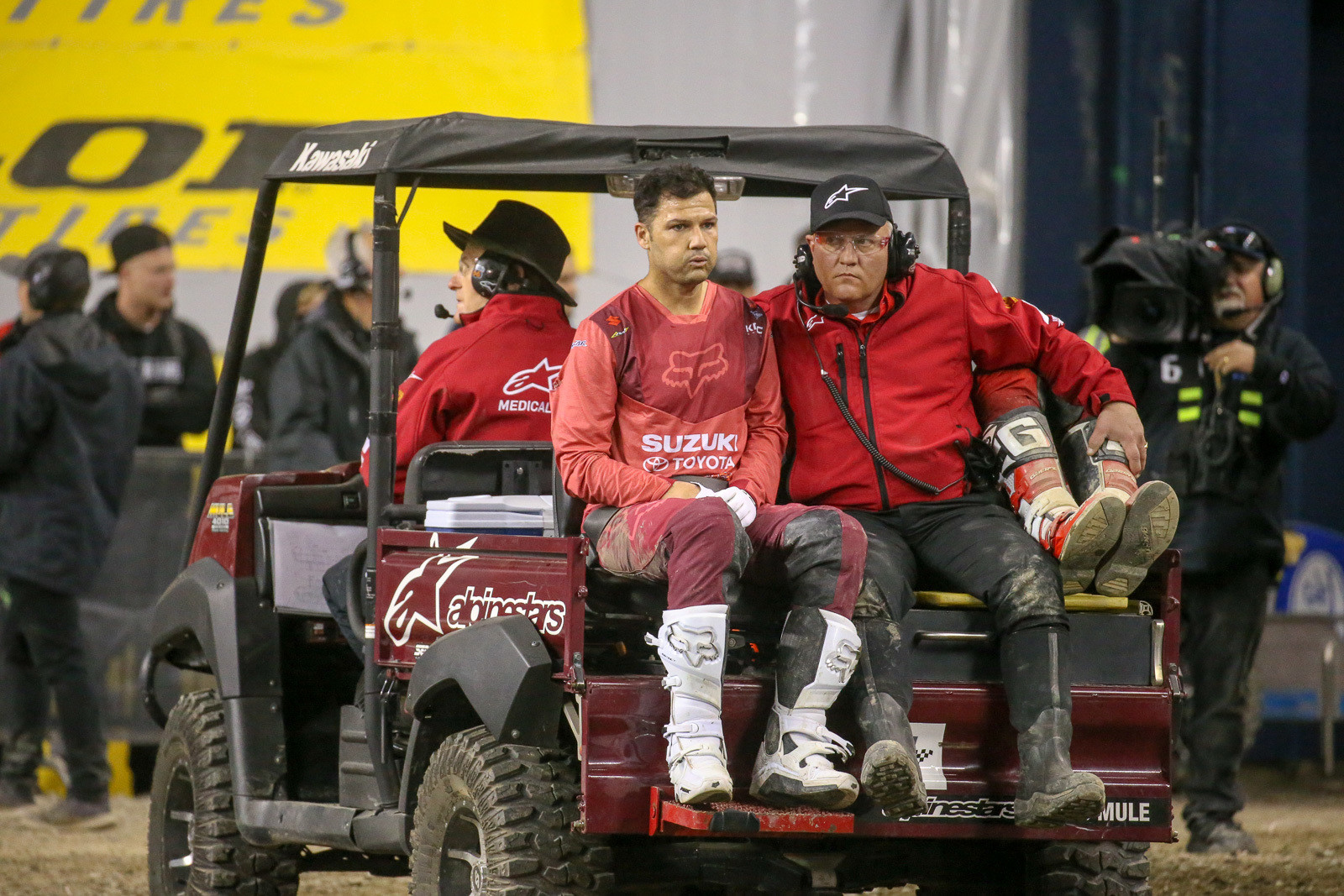 Chad Reed and Justin Brayton on their way to the Alpinestars Mobile Medical unit.