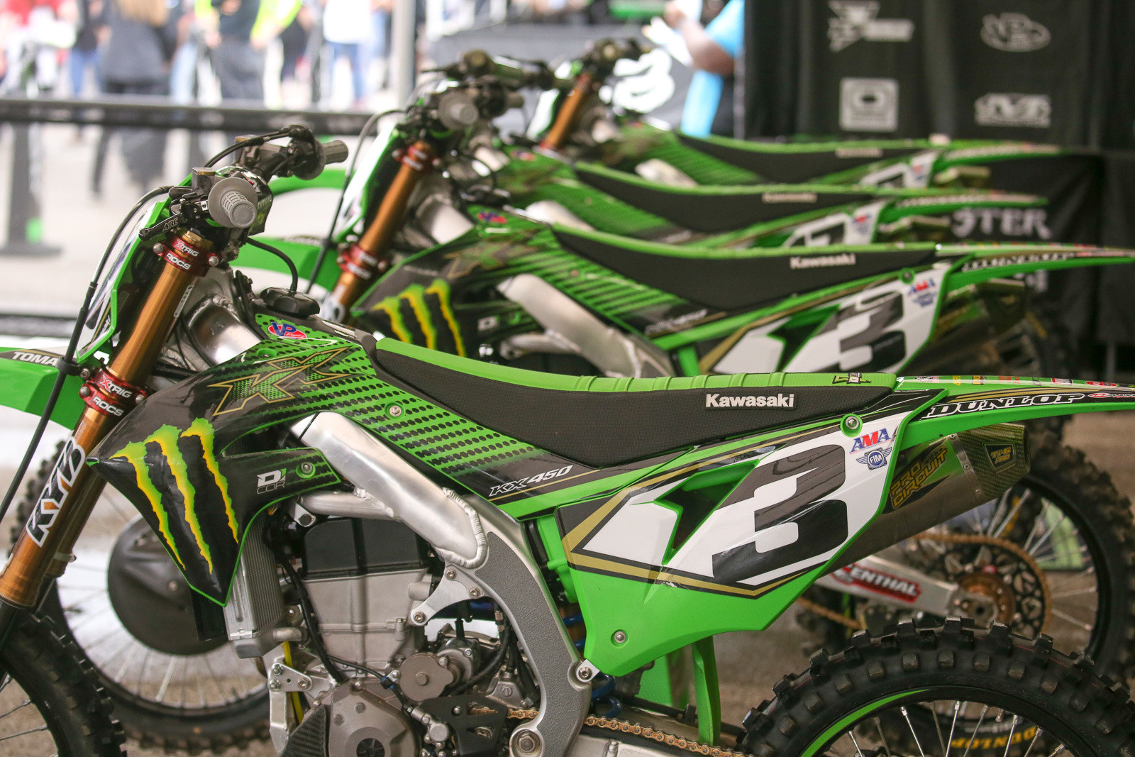 Yep, it's the final Triple Crown race of the year, so it's also the final double-bike weekend. The Monster Energy Kawasaki guys rode press day on Friday, and while Eli didn't really say they tried two different setups, they did bring out both bikes to ride.