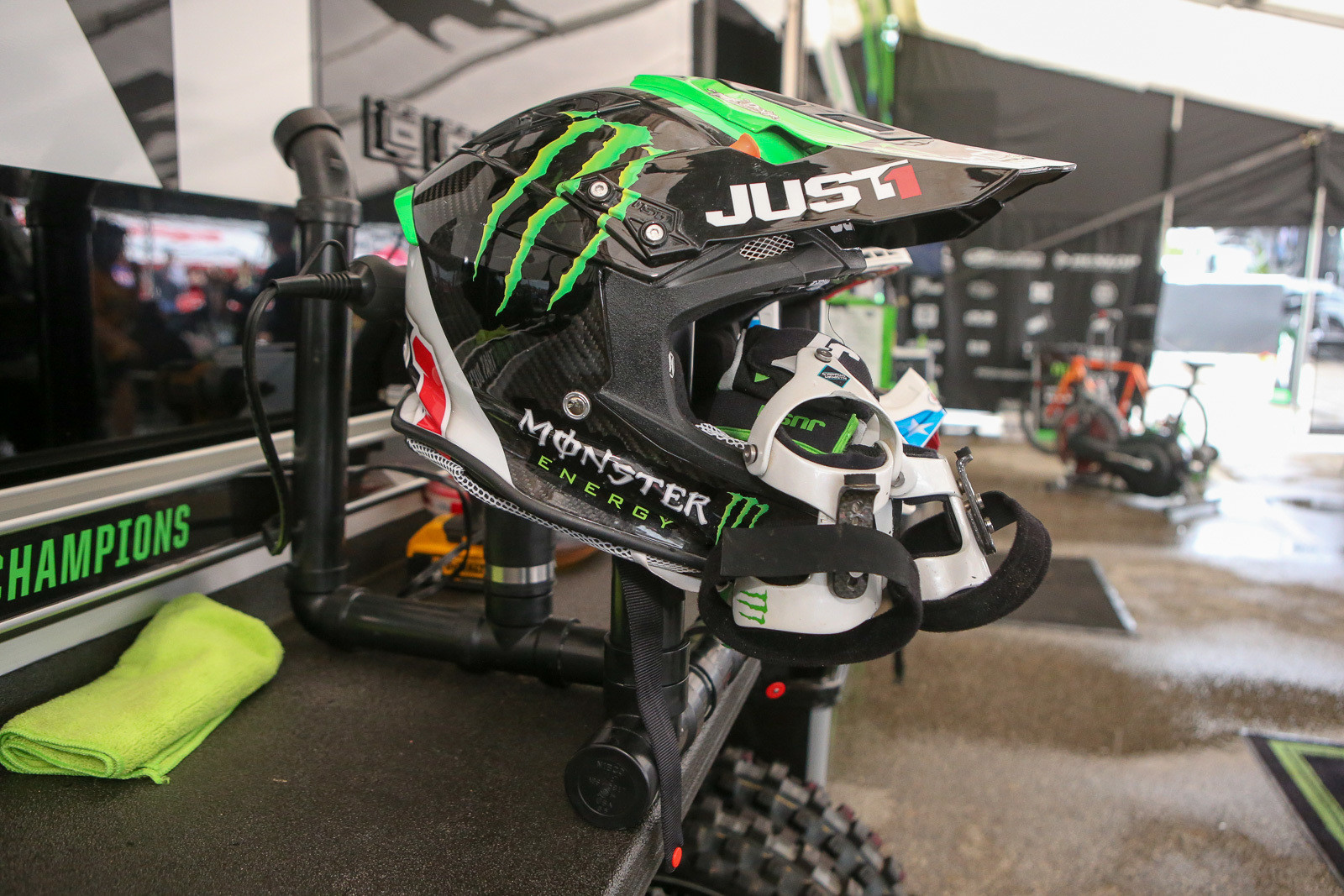 Want a little DIY action? The Monster Energy Kawasaki guys needed a new helmet dryer, so they put together this one using a batch of PVC pipe.