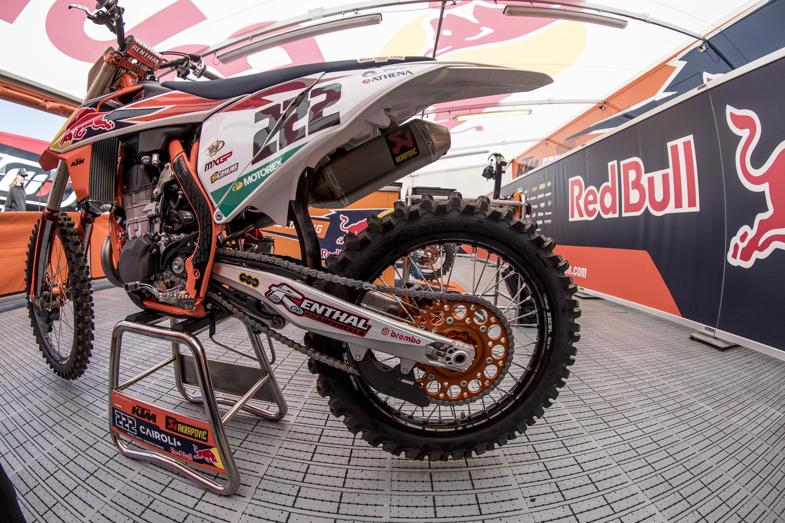 "Here is Cairoli's bike with the Pirelli MX Soft tire, which has been around for a couple of years now. Even though it is not on Pirelli's website, you can see it in the WPS tire catalog. It has a less ""cupped"" pattern than other sand tires."