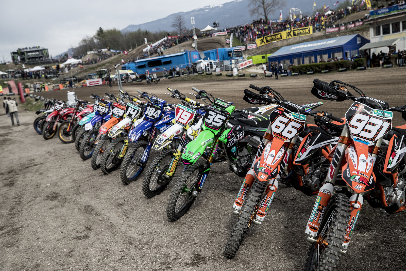 A selection of MX2 bikes.