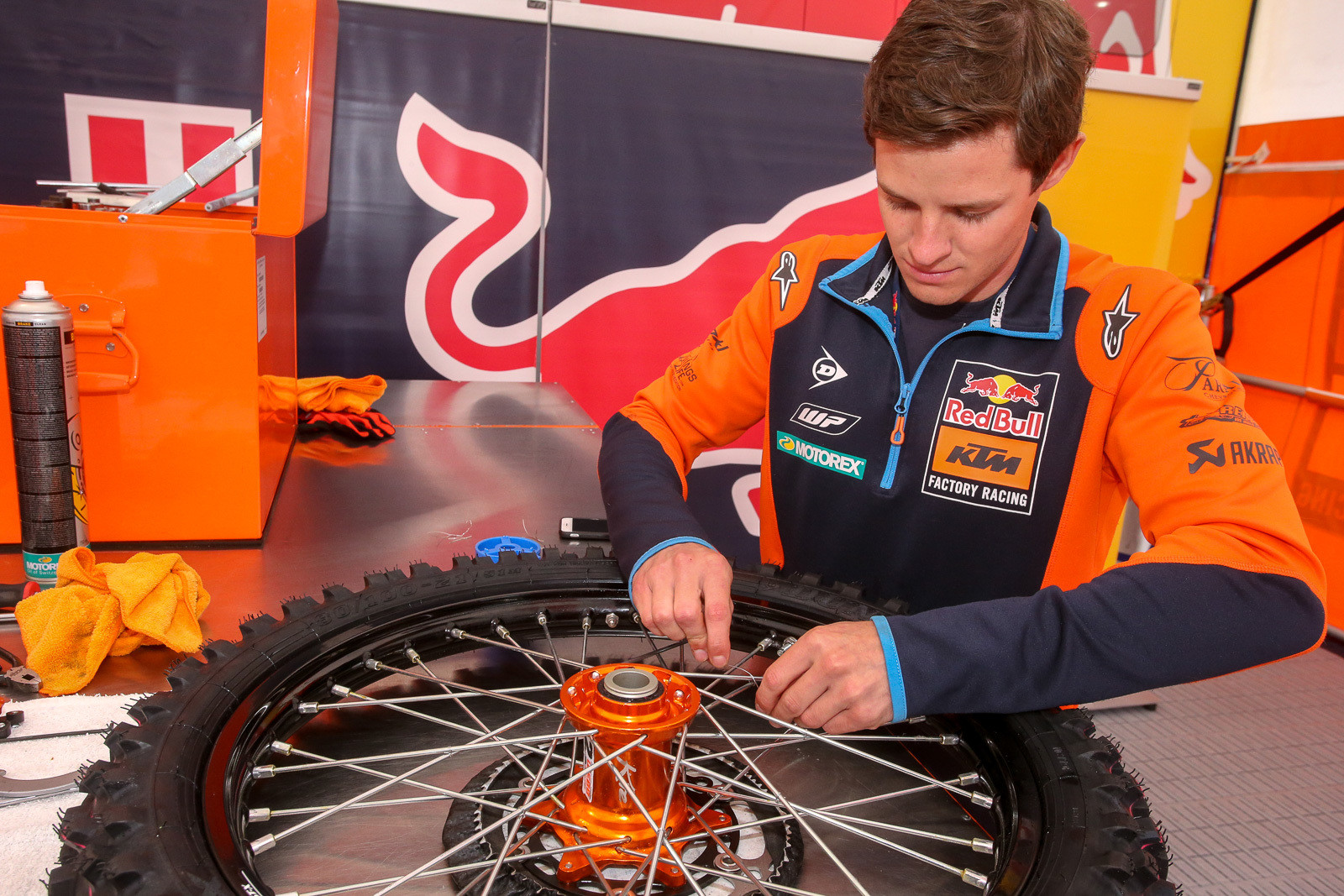 The Red Bull KTM guys also do safety wire on the spoke junctions, just to make sure an errant broken spoke doesn't end up in a disk or sprocket.