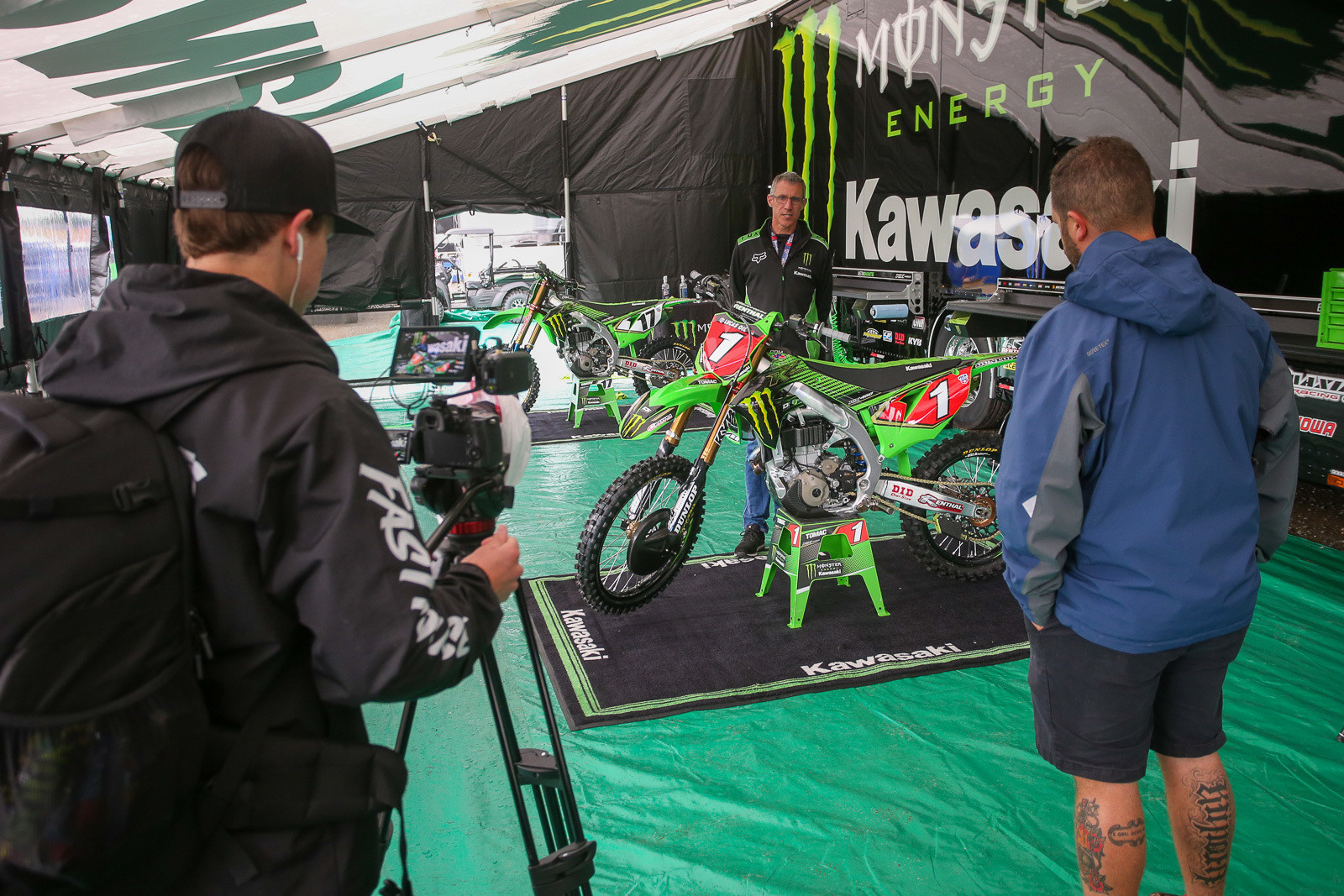 Welcome to Pit Bits. We also had Brad Resnick (left, the newest member of the Vital MX staff), and Sean Klinger (right) wandering the pits and checking out bikes. Give the video a look if you want, by checking the homepage.