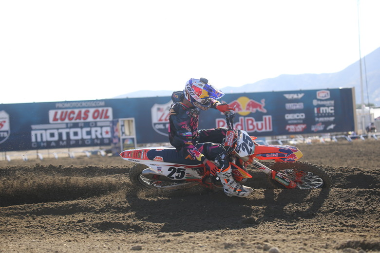 Marvin Musquin held off Eli Tomac for the first part of the race, but he would eventually settle for second place.