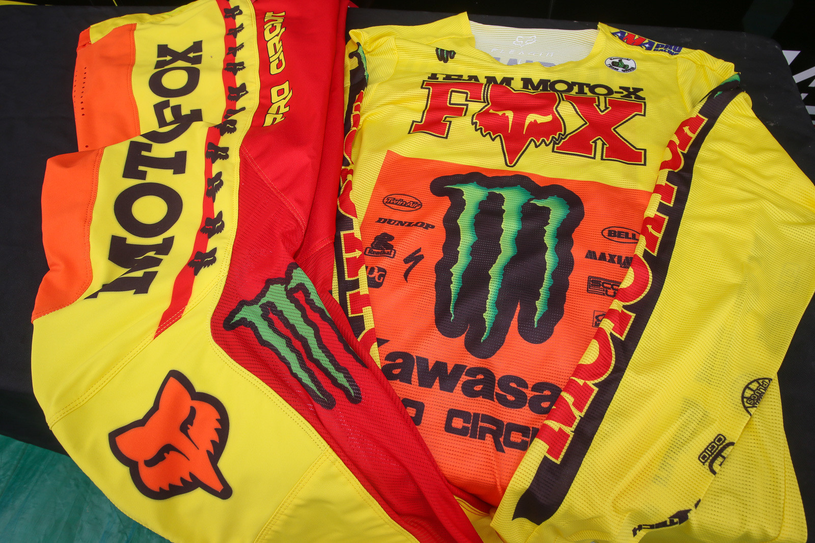 Fox did up some very trick team-only retro gear for the Monster Energy Pro Circuit Kawasaki guys.
