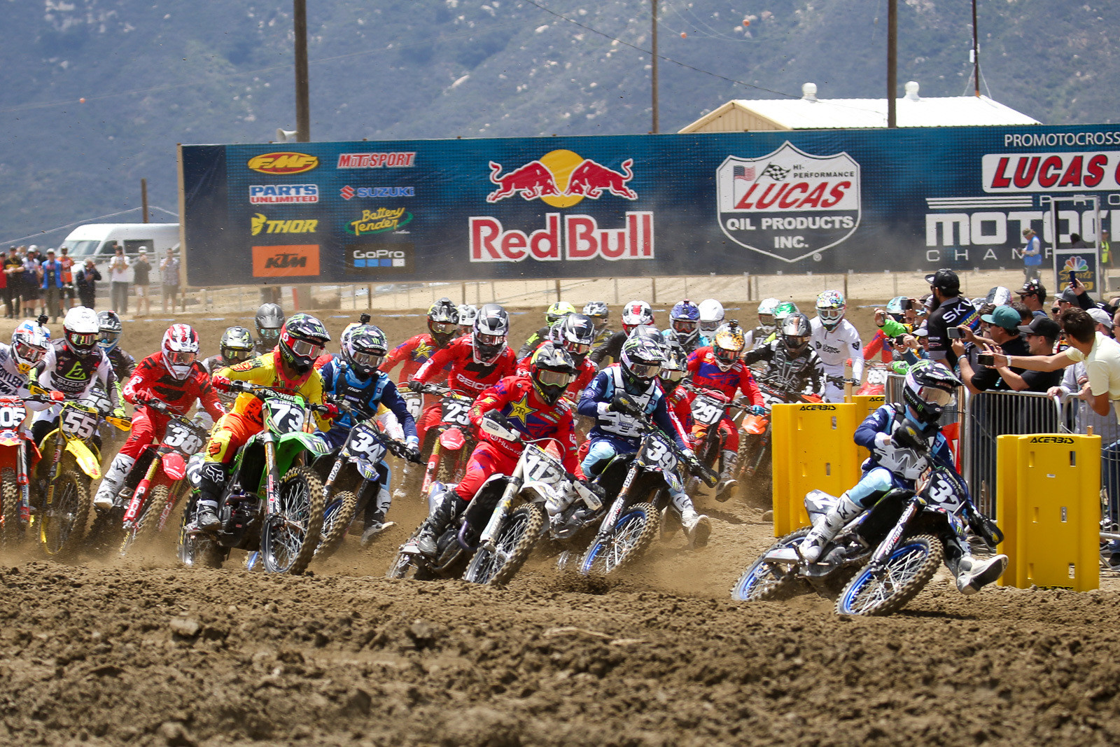 In the first moto, Justin Cooper came from the inside of the gate to grab the holeshot.