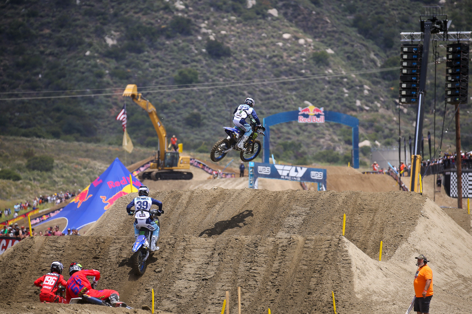 Early in the first 250 moto, it was Cooper, Colt Nichols, Hunter Lawrence, and Jordan Bailey