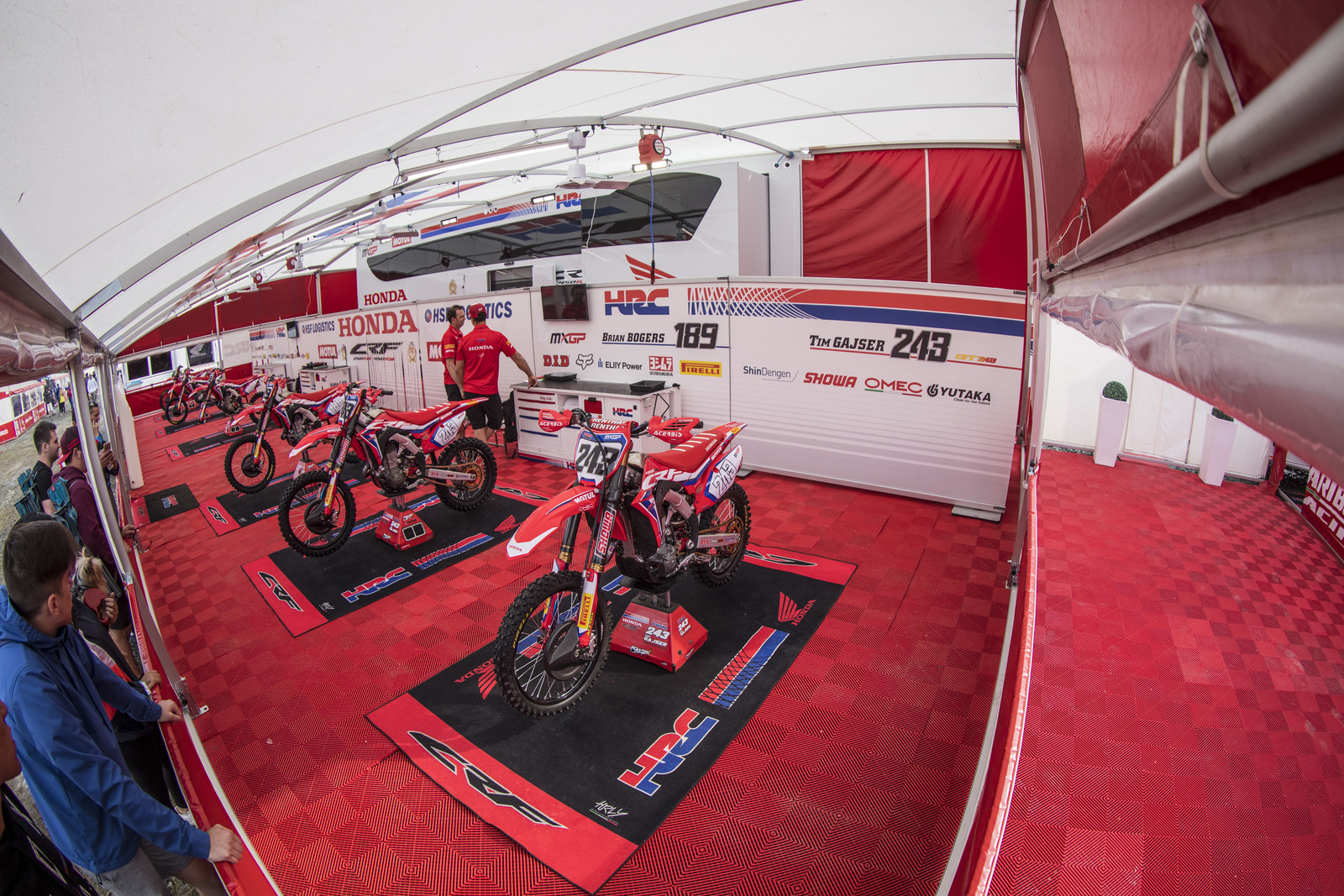 We are going to take a tour of the pro pits, starting with Honda HRC Team.