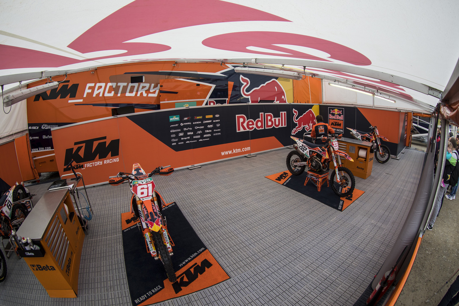 Red Bull KTM. Pretty impressive to have both red plates under the same tent. It seems that the US Red Bull Team's pits take pretty much the same style that the Euros have.