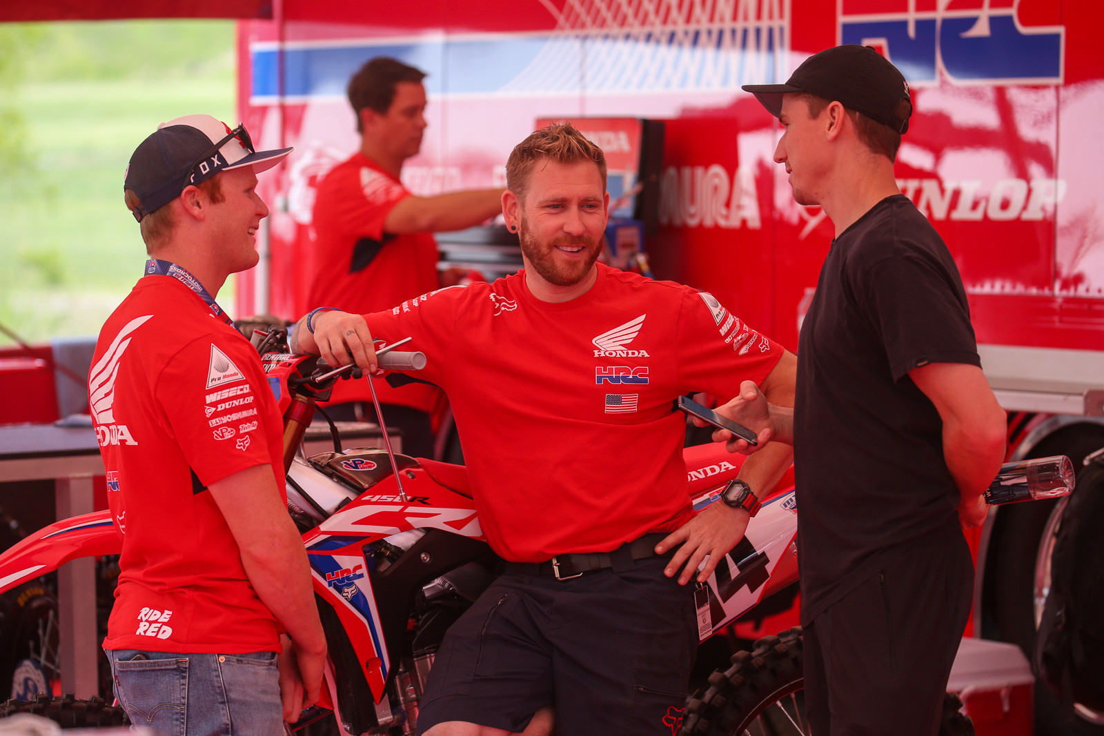 Trey Canard, Jordan Troxell, and Cole Seely chat before practice.