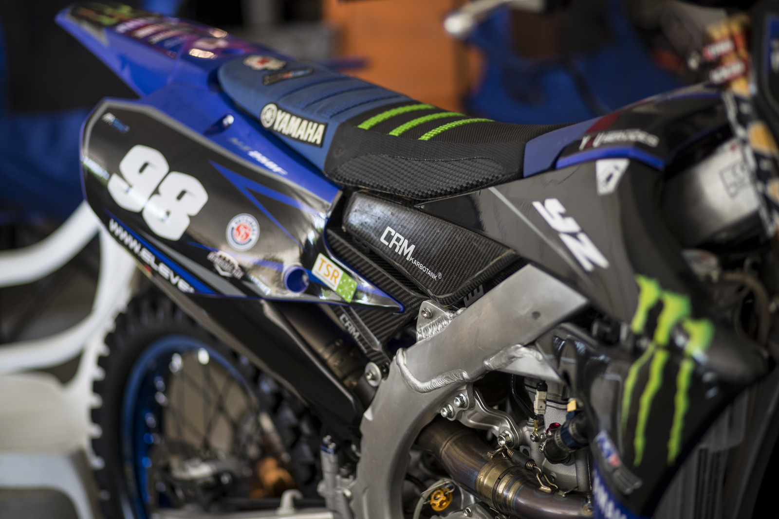 We'll jump right into the bike stuff. We have a few bikes from the EMX250 class. This is the YZ250F of Thibault Benistant of the MJC Yamaha Team, a Yamaha supported team. That carbon tank and subframe can't be cheap.