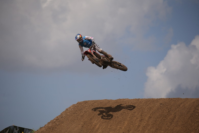 Ken Roczen went down at some point during the race, and he wasn't the same after that. He'd come home in 10th place.