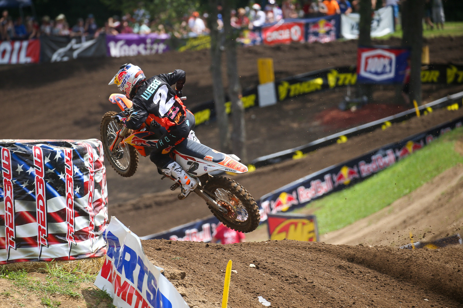Cooper slipped to second early on, and eventually finished the moto in third spot. He was fifth in moto two, and fourth overall for the day.