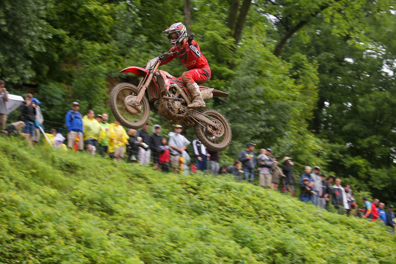 Hunter Lawrence quickly took over the lead, and held it for the win in moto one.