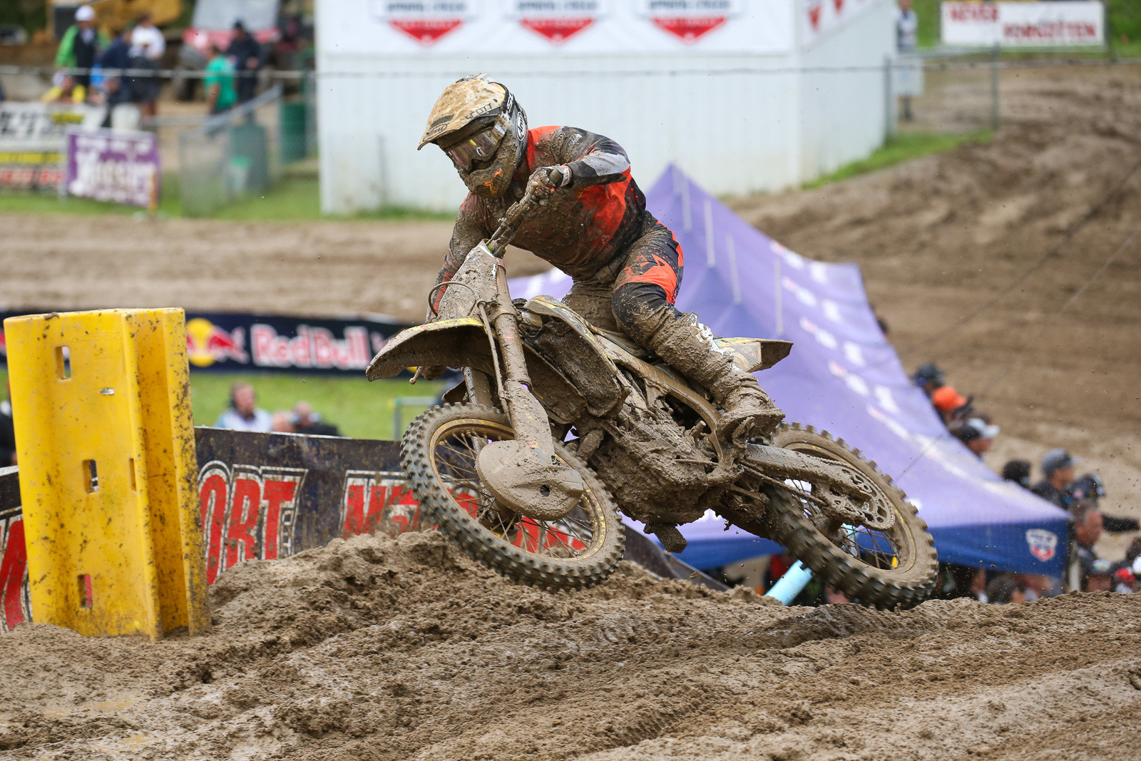 Much to the delight of the local crowd, Alex Martin was running in the top three. He took advantage of a crash by Adam Cianciarulo to finish in second for the first moto.