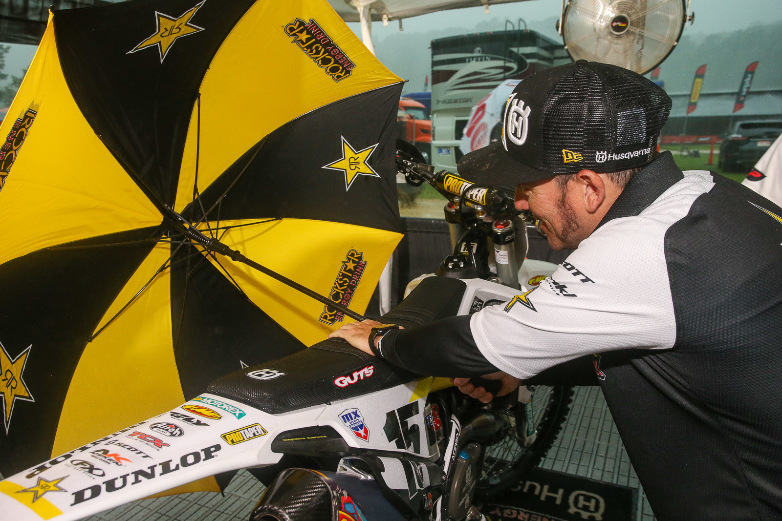 At one point, rain was coming down so hard (and sideways) that even under the Rockstar Energy Racing Husqvarna awning, Damon Conkright was having to use an umbrella to keep it off of Dean Wilson's.