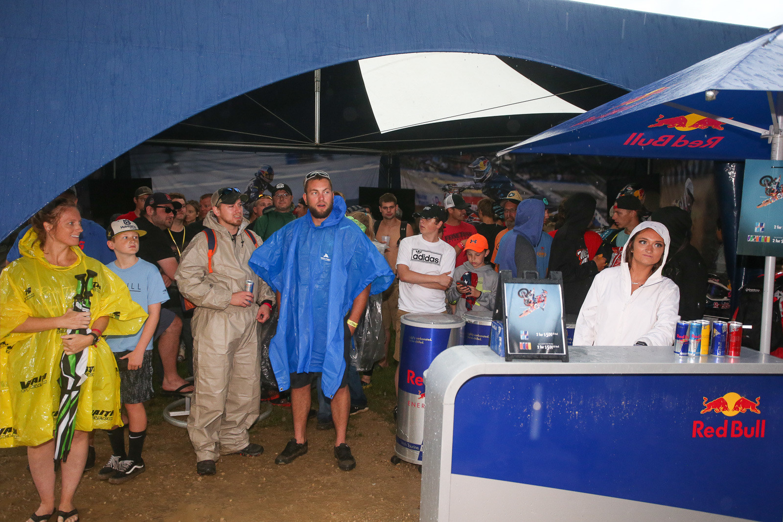 When the rain started coming down, the Red Bull tent suddenly got very popular.