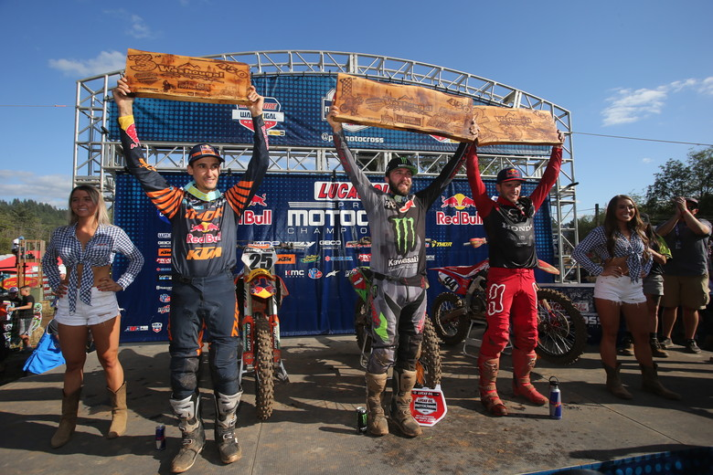 Today's 450 overall podium.