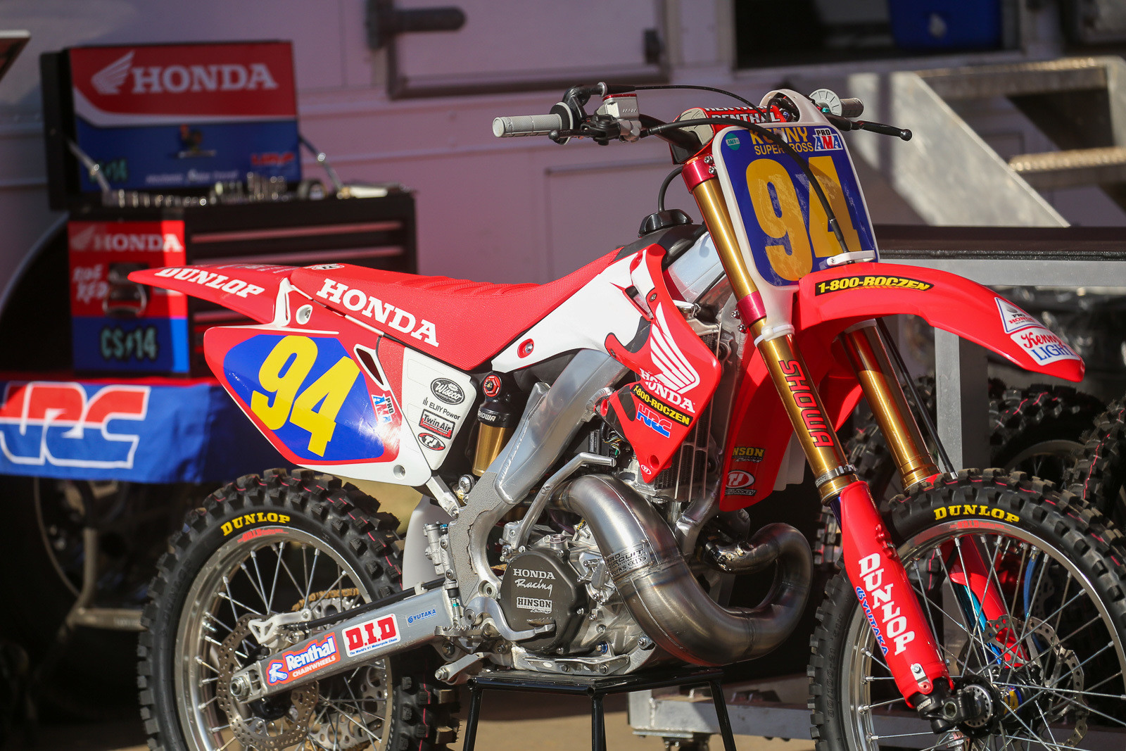 Ken Roczen busted out Jeremy McGrath's '06 Honda 250 for the event, but it had some modern touches, like his current front suspension components.