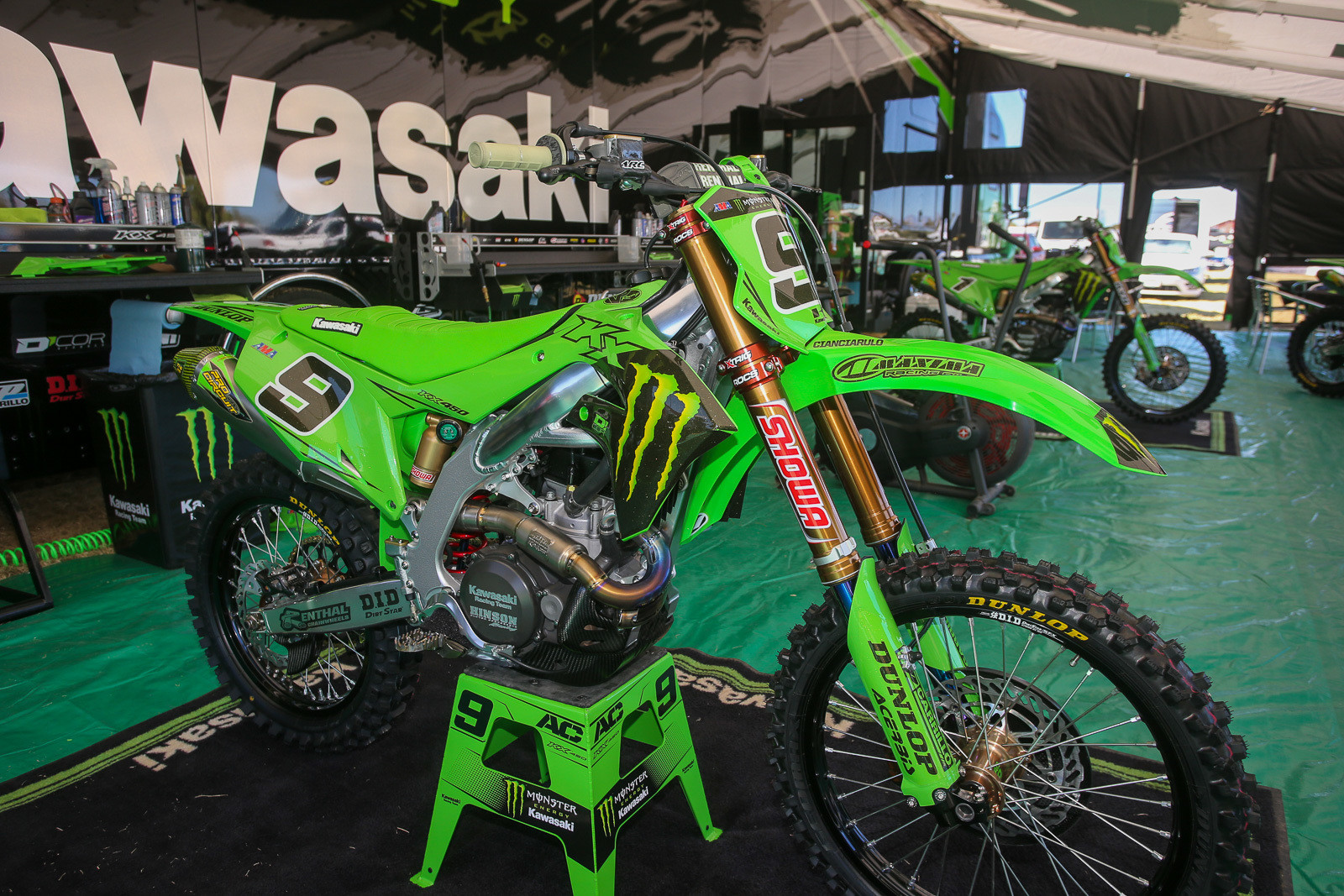 Monster Energy Kawasaki (along with D'Cor) usually does something pretty spectacular for the Monster Energy Cup, and this year was no exception. We liked the added green for the bikes of Adam Cianciarulo and Eli Tomac.