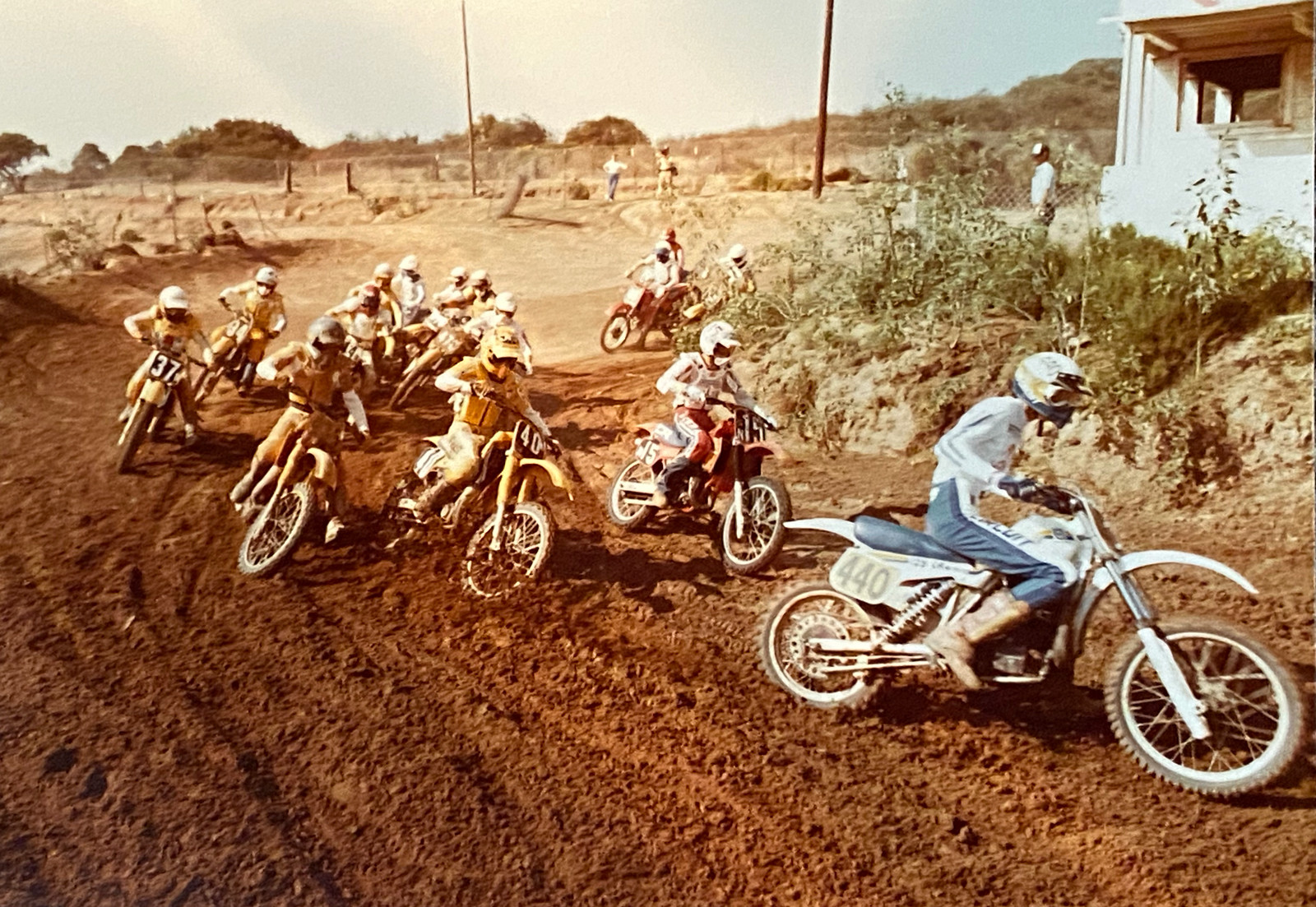 Bones grabbing the holeshot on one of his later bikes. This is the one that he mentions in the podcast that had been heavily modified