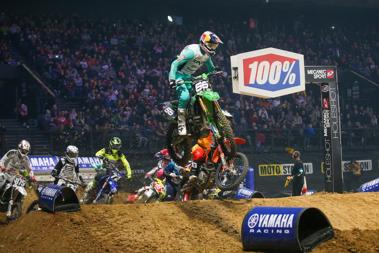 Enzo Lopes got the night started in the SX2 class with this holeshot. He drifted back to third by the end, but looked a lot more comfortable on the new equipment on Sunday than he did the day before.