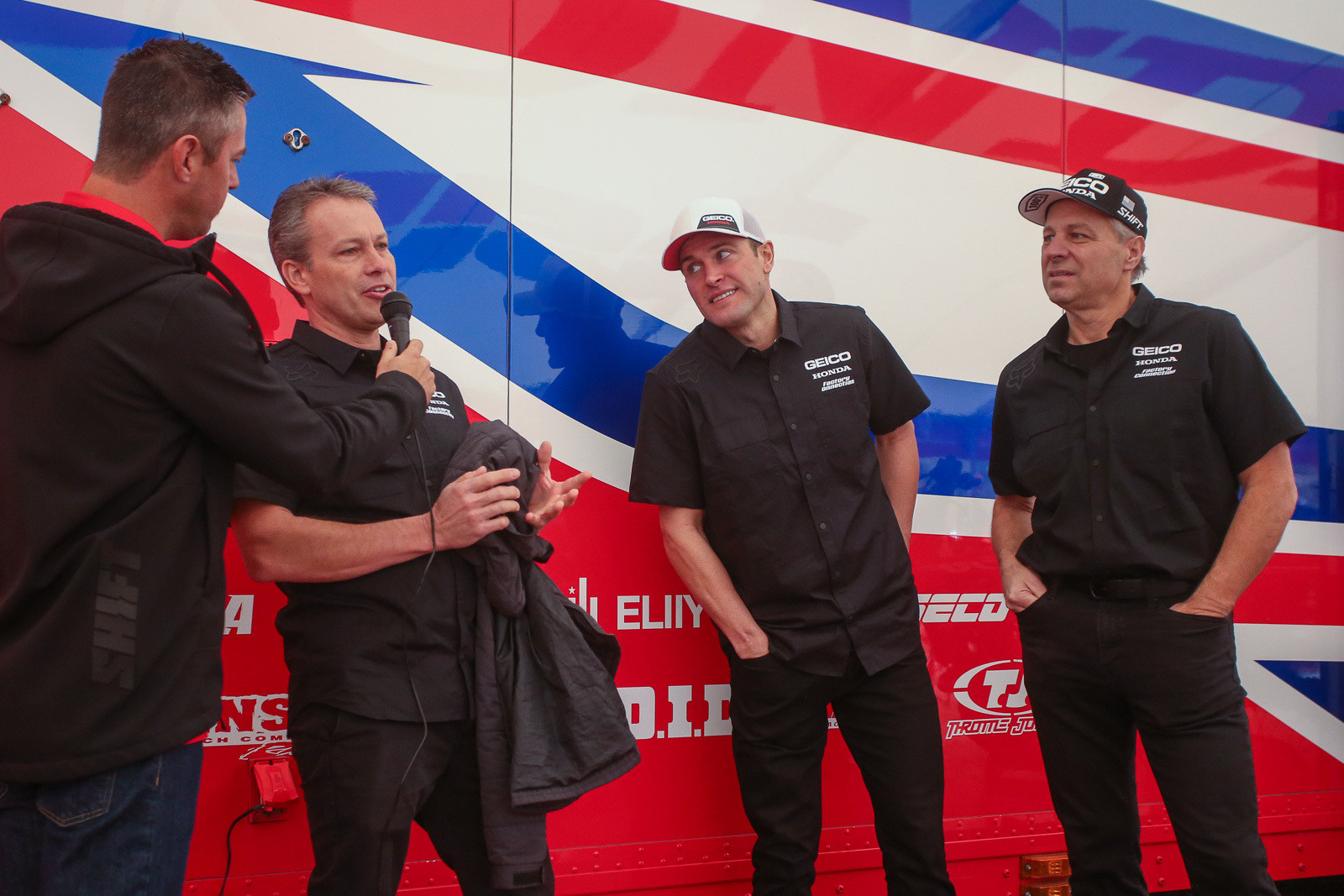 """Some of the biggest news on the GEICO Honda front was the addition of Ryan Dungey to the ownership group of the team. He was introduced by Rick """"Ziggy"""" Zielfelder and joined up front by Jeff Majkrzak (right), who also has an ownership stake in the team."""
