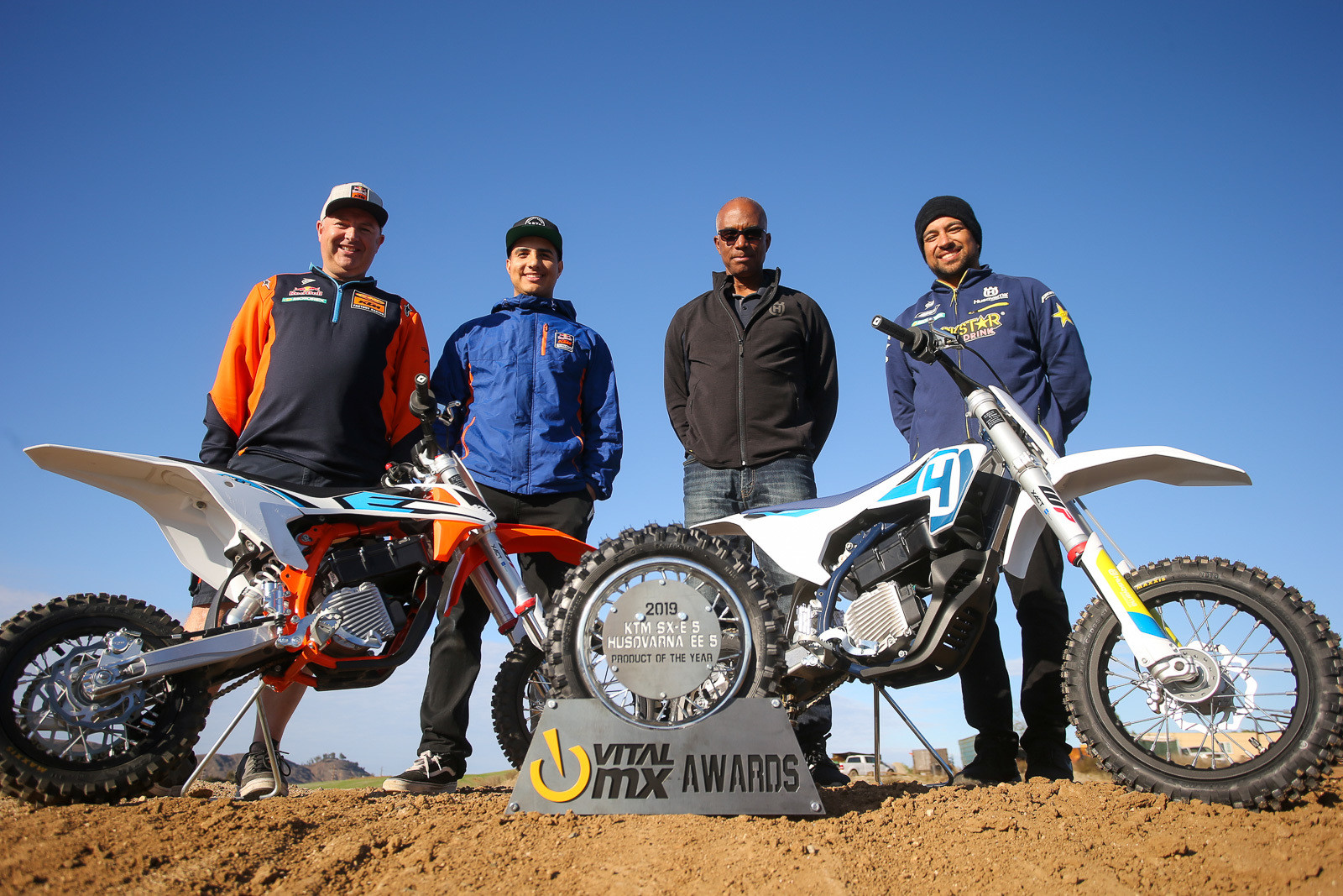 We presented the trophy to the KTM and Husqvarna media crew staff members. From left to right, it's KTM's David O'Connor and Nate Abila, and Husqvarna's Andy Jefferson and Anthony da Graca.
