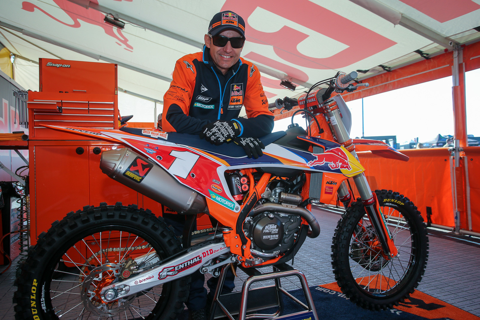 Oh, you think this bike is Cooper Webb's? Nope, it belongs to Carlos Rivera (and KTM). Carlos lets Coop ride it on weekends, though.