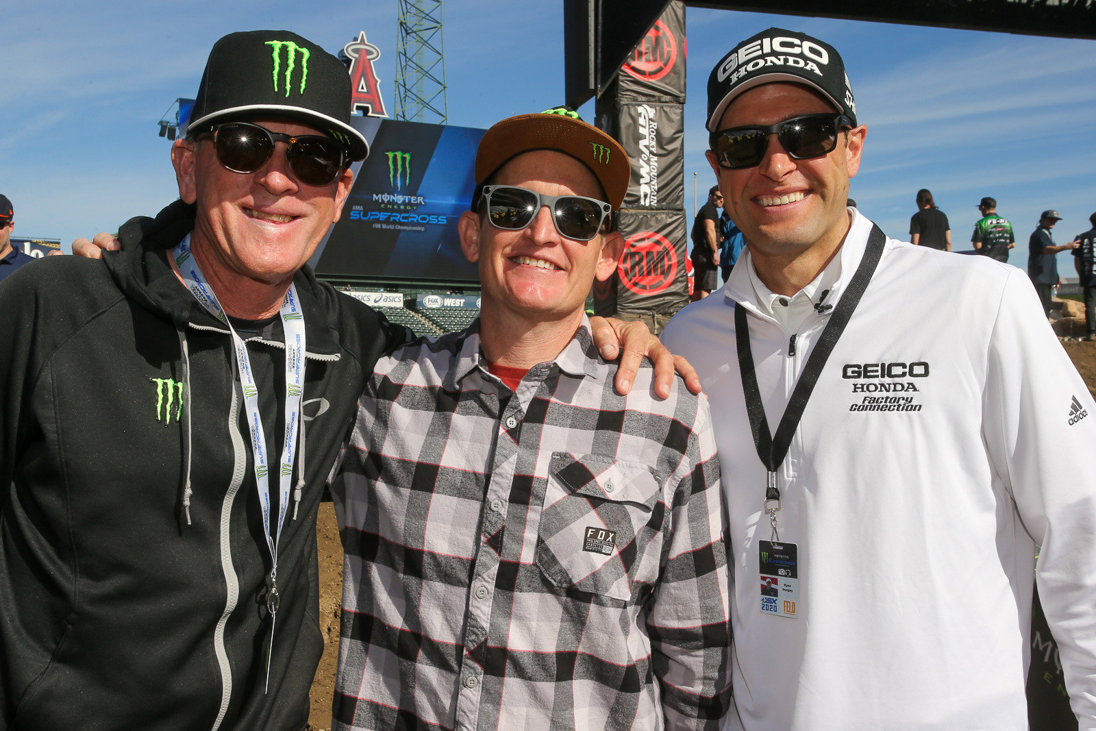 Whoa, who can tally up all the race wins and titles for these guys? We don't have enough fingers and toes. From left, that's Johnny Omara, Ricky Carmichael, and Ryan Dungey.
