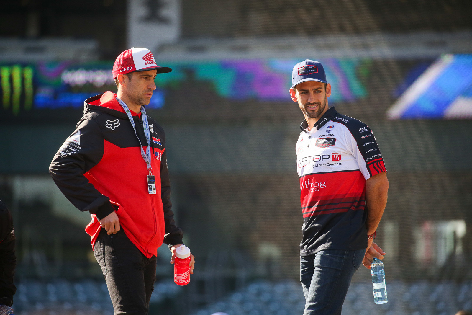 Justin Brayton and Vince Friese checking out the track during Saturday morning's track walk. It was pretty slippery from watering the night before, but it's forming up nicely.