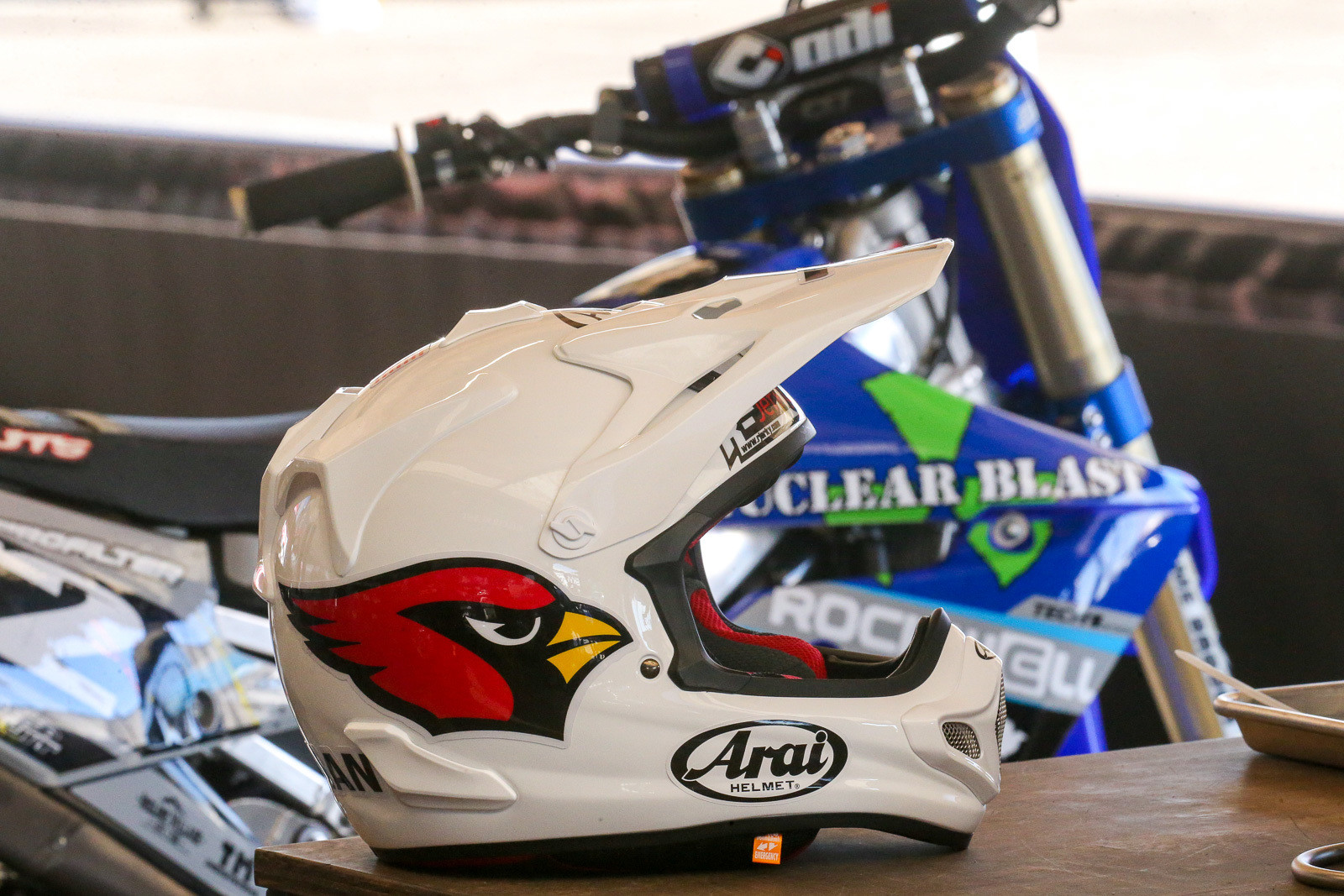 State Farm Stadium in Glendale hosts the NFL's Arizona Cardinals during the non-Supercross season. Robbie Wageman and the Nuclear Blast/Rockwell/Yamaha team made sure to take note of that.