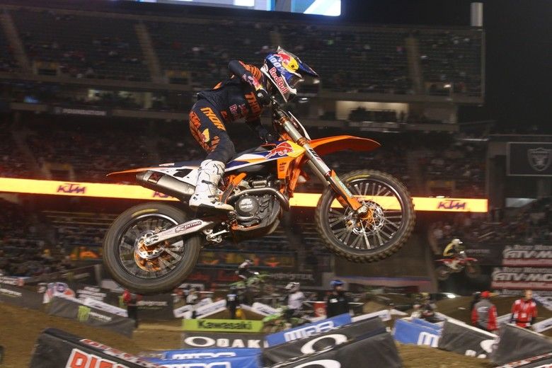Cooper Webb was able to make a move on Ken Roczen in the final turn of the final lap to finish in second place.