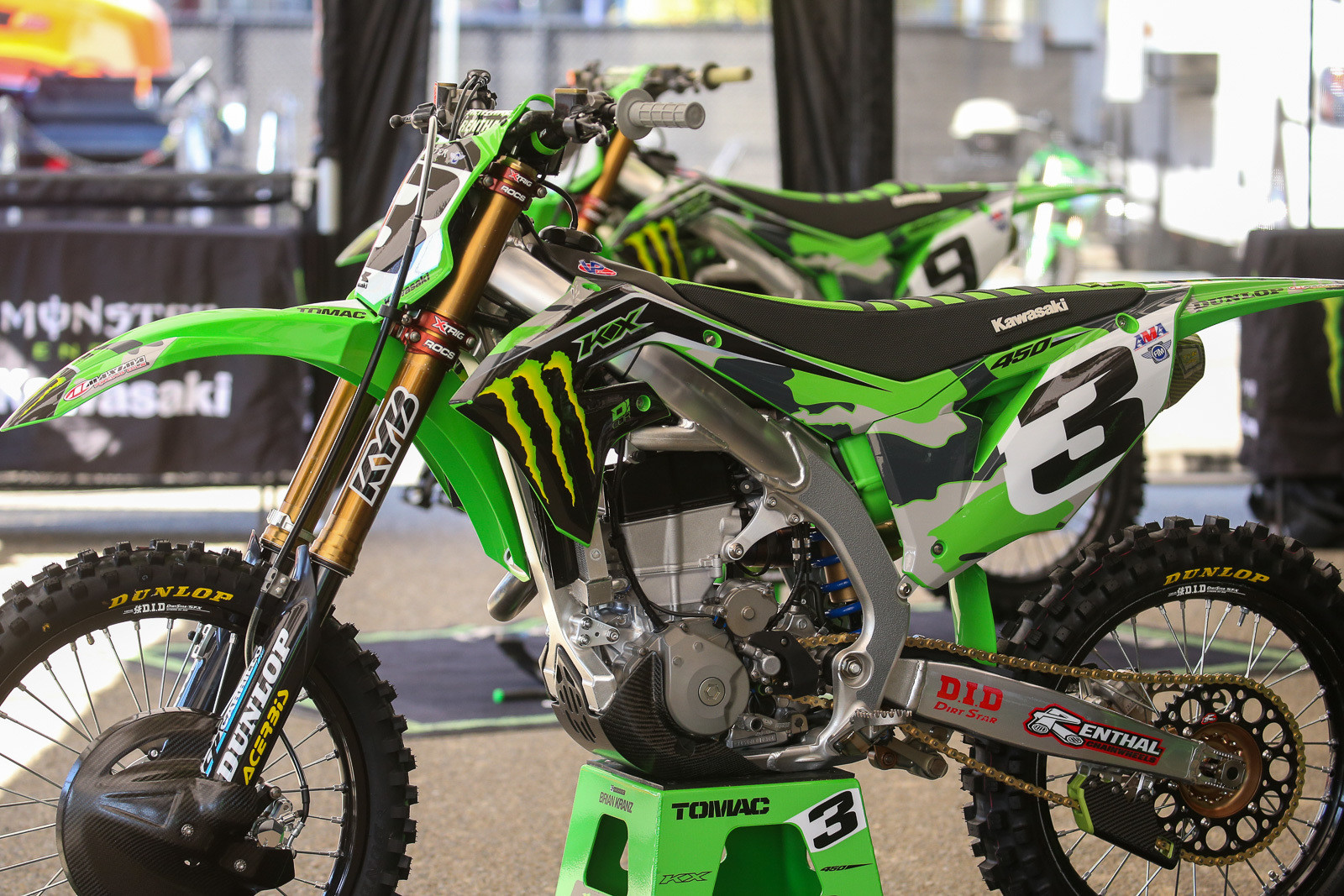Monster Energy Kawasaki went the traditional route for Eli Tomac and Adam Cianciarulo, with a camo makeover.