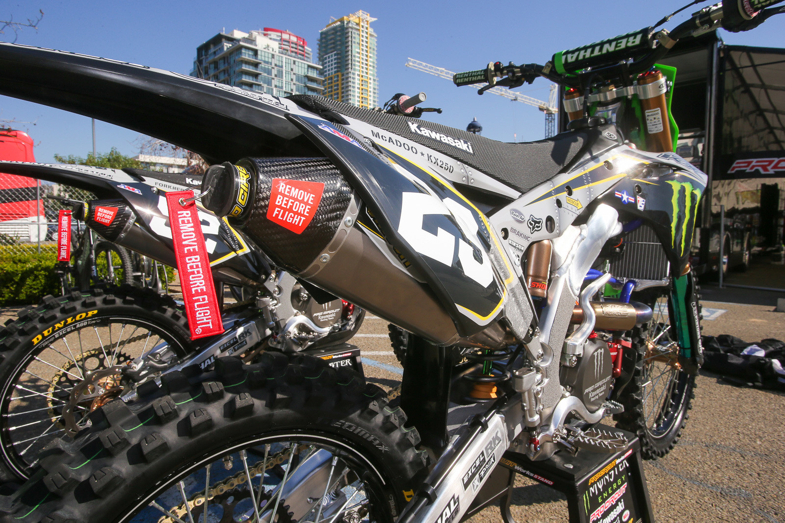 Monster Energy Pro Circuit Kawasaki knocked it out of the park with their design. The steel plate look on the graphics had a bunch of other nice touches, including the Remove Before Flight exhaust plug.