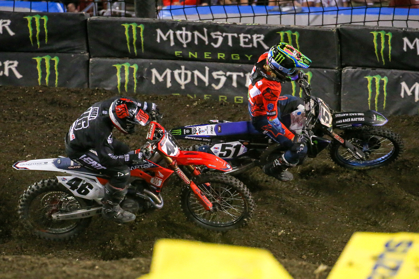 Justin Barcia fending off Justin Hill in the final corner.