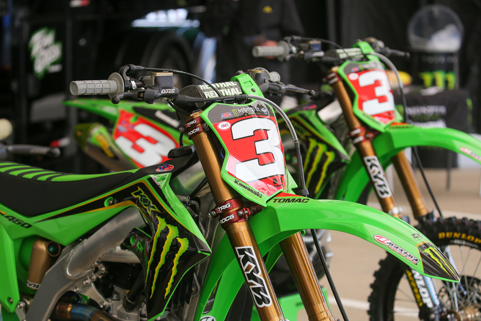 Picking up the red leaders plates before a Triple Crown weekend means having twice as many of them. They were prominently displayed on both the race and backup bike for Eli Tomac.