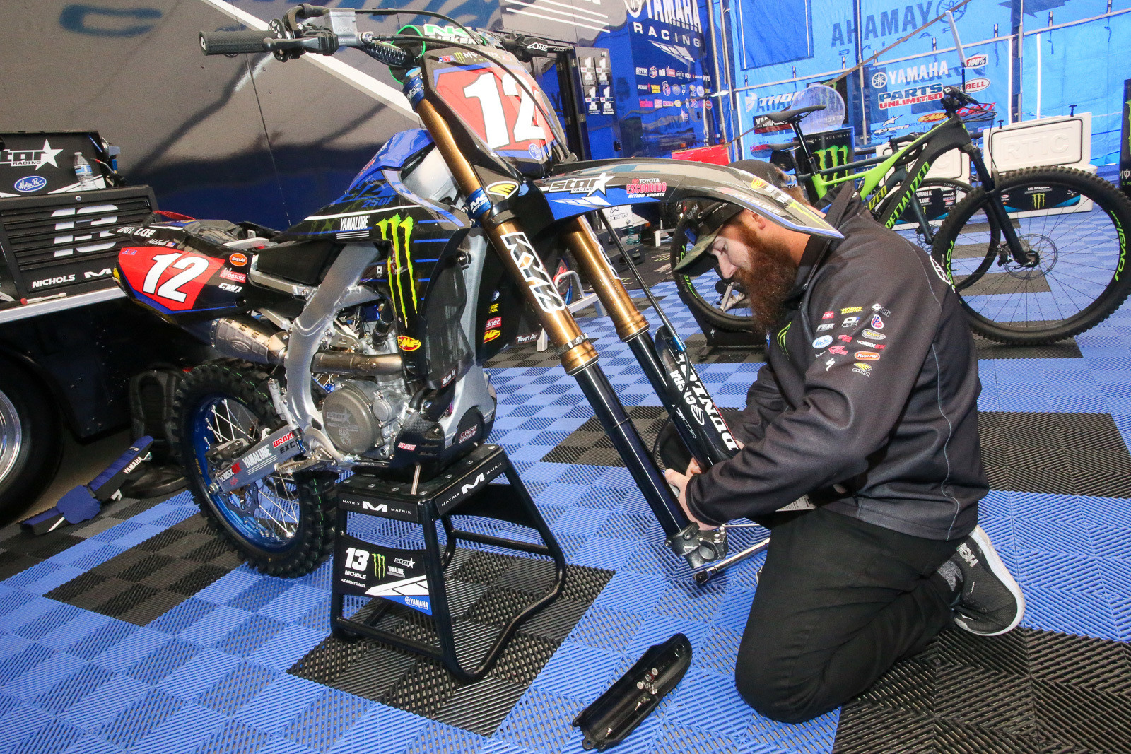 While he waits for Colt Nichols to return to action from an injury, Trevor Carmichael was busy helping out on Shane McElrath's backup bike. Shane took over the 250 East lead last week with his win in Tampa.