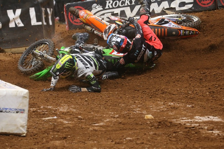Not where Eli Tomac hoped to find himself during the Main Event.