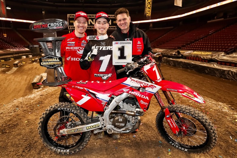 The Phoenix Racing Honda Team celebrating winning the 2020 AMA Arenacross National Championship Title.