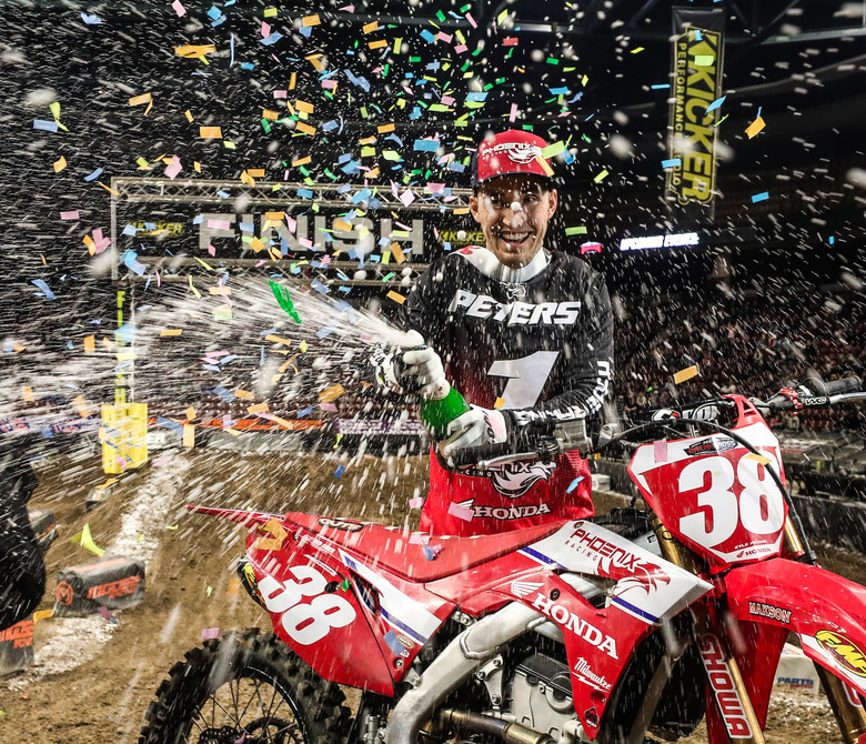 Phoenix Racing Honda Team Rider, Kyle Peters celebrating winning the 2020 AMA Arenacross National Championship Title, Saturday night in Salt Lake City.