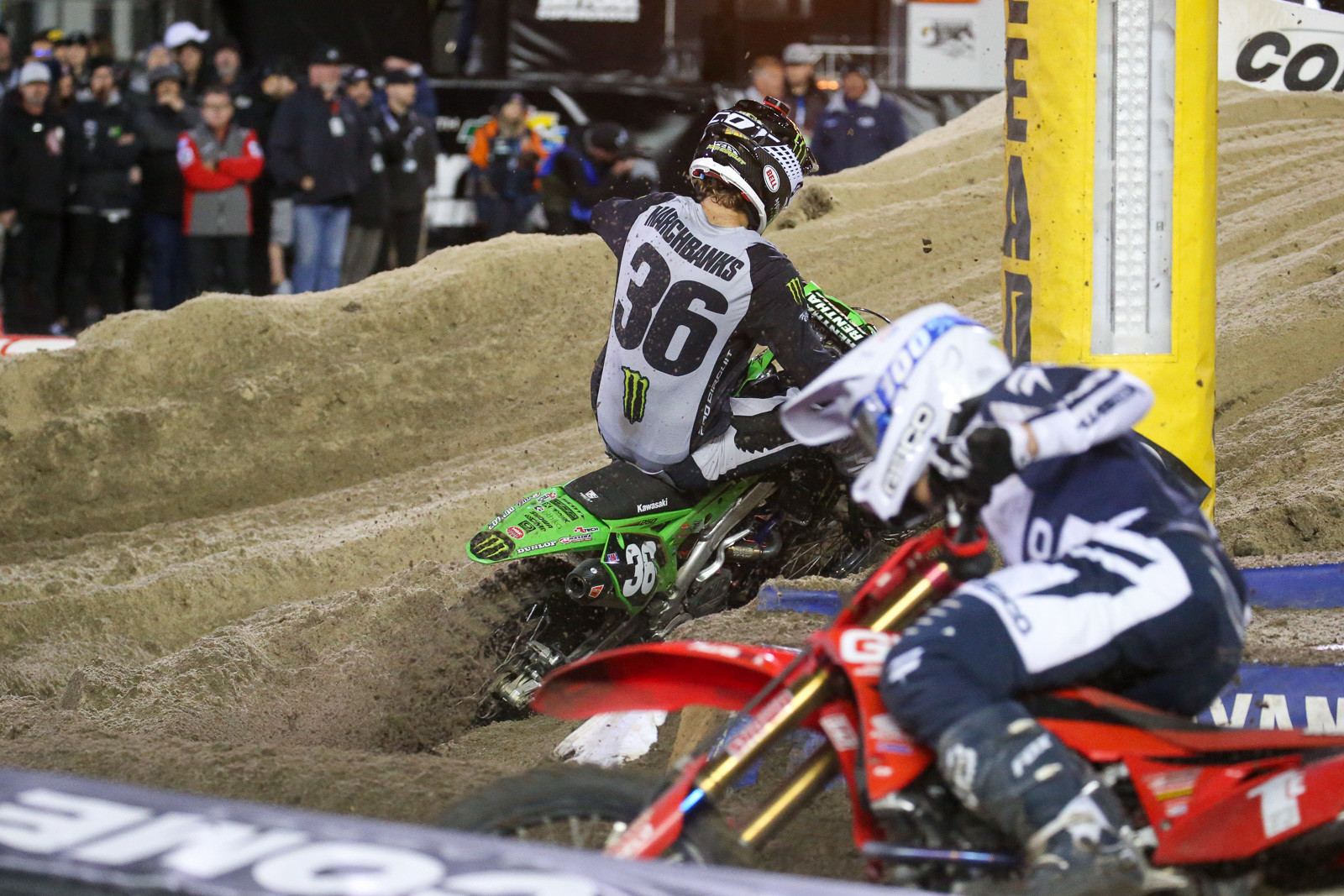 Garrett Marchbanks (with Chase Sexton in hot pursuit) late in the 250 main event.