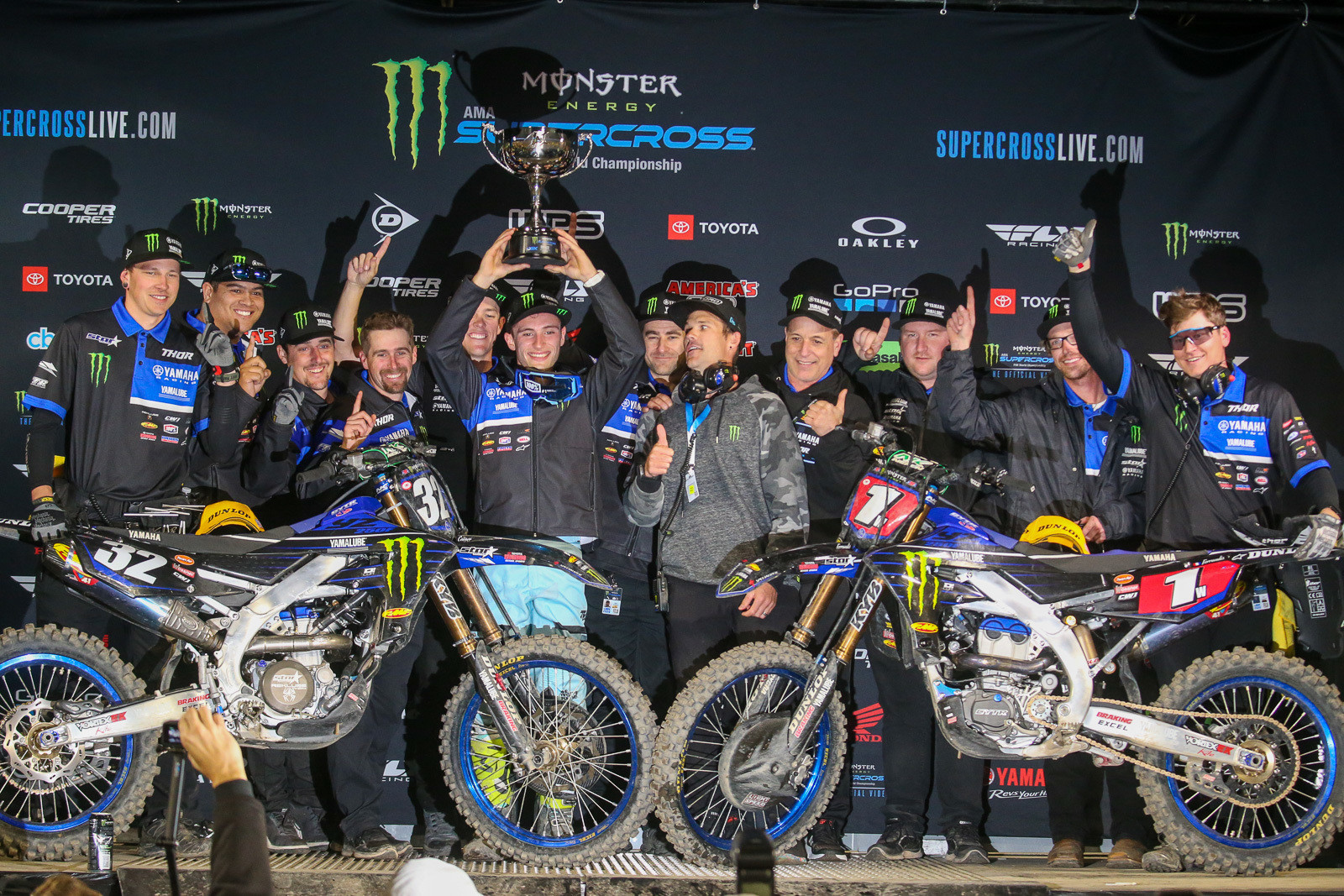 Wil Hahn (fourth from left), and the Monster Energy Star Racing Yamaha team with Justin Cooper after his win at A1.