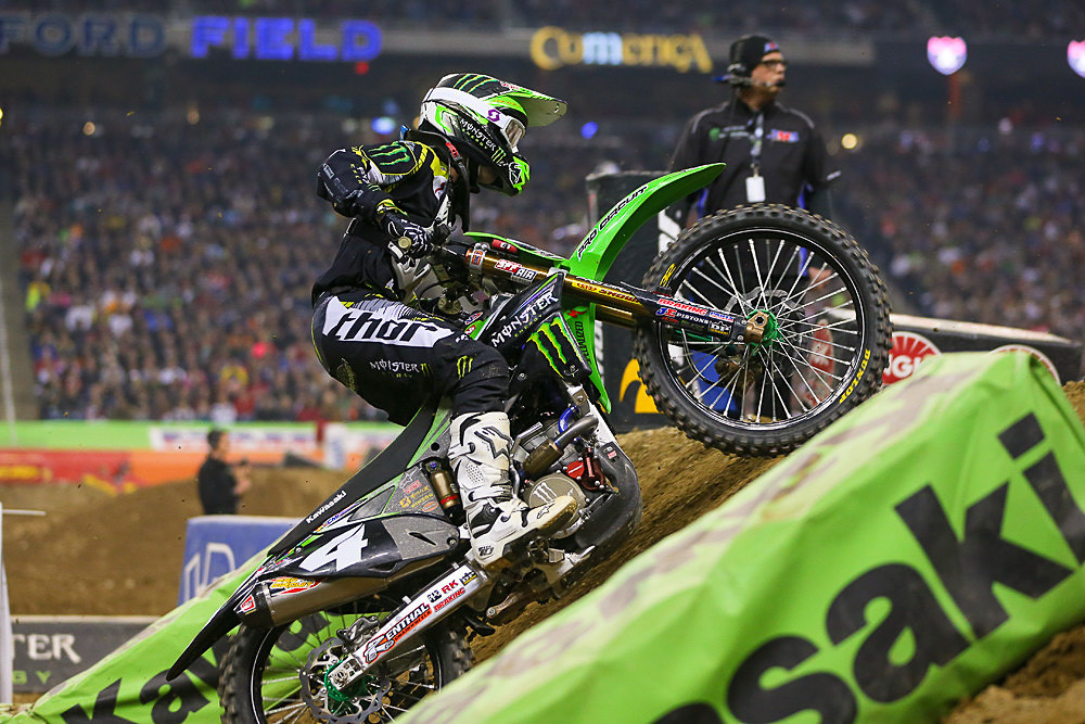 Blake Baggett working his way through a wall jump on his Monster Energy Pro Circuit Kawasaki.