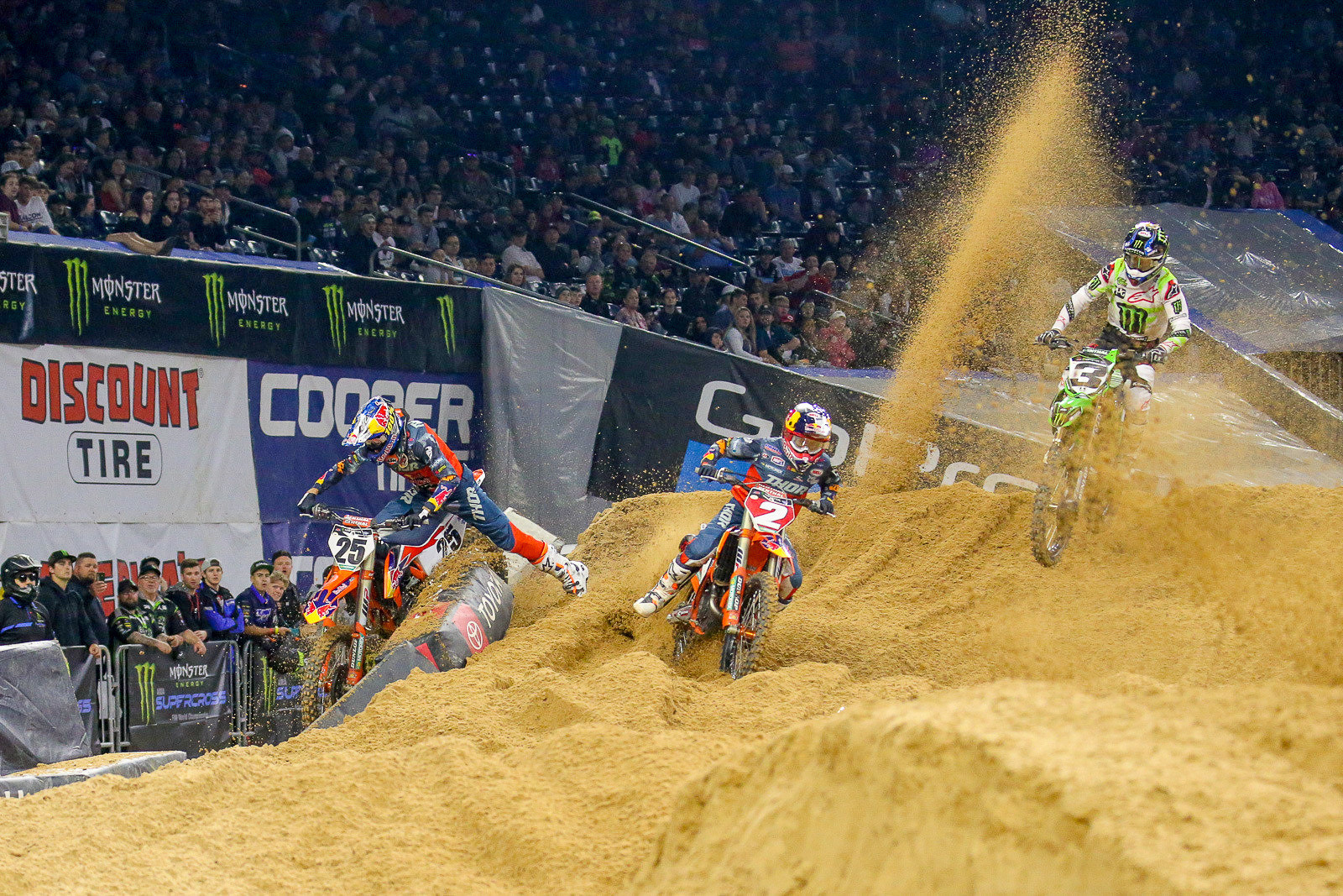 Contact between Marvin Musquin and Cooper Webb in the first moto had everyone buzzing. Cooper took the overall on the night with a 2-1-3 score.